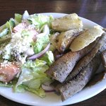 This is the Gyros Platter with Greek salad and Greek potatoes