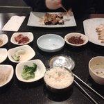 sticky rice and sides, soup, fried tofu and sushi! soooooo good!!