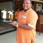 Cheerful Fijian bar staff
