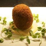 Smoked Haddock Scotch Egg, Hollandaise sauce
