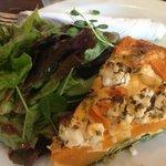 spinach & ricotta quiche with salad