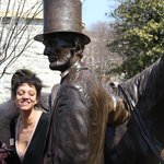 Our superb tour guide next to the Lincoln statue.