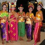 Balinese dancing girls in restaurant