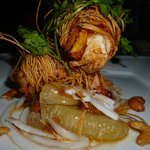 prawns and mango wrapped in noodles with pomelo salad