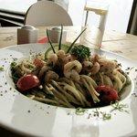 Pasta aglio e olio mit Crevetten