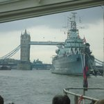 Tower Bridge and HMS Belfast as seen from the Boat