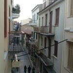 From our balcony - the most delightful, typical European narrow street