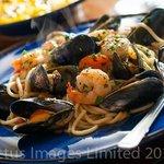 spaghetti pescatore & saffron risotto