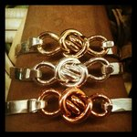 love knot latching bracelets in brass, silver and copper