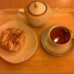 Danish Pastry and pot of tea.