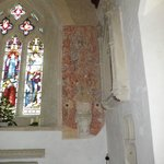 Saxon wall painting inside St Mary's, Breamore