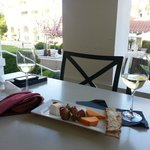 Afternoon snack from the lounge: Cheese Plate and Sauvignon Blanc.