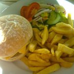 Beef burger and hand-cut chips