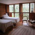 Twin room facing woods