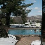 View of outdoor pool - heated so you can swim in the snow