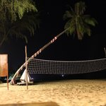 Beach view w/ volleyball net at night