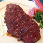 Wood grilled tuna sliced sashimi-style