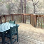 The lovely deck of our rustic cabin