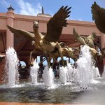 Golden flying horses outside Atlantis