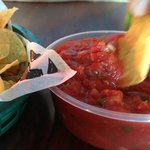 tortilla chips & salsa (looks thick & ketchup-like, but is not)