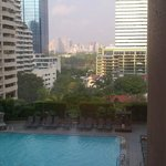View from 5th floor room of pool and bangkok.
