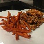 waffle fried chicken sandwich with sweet potato fries