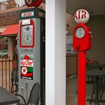 The old gas station outside the restaurant