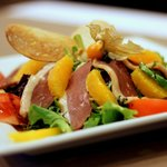 Fresh Endive Salad with Smoked Goose Breast and Orange Balsamic Dressing