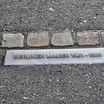 Ground plaque on the Berlin wall site.