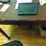 scratched desk