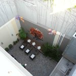 Looking down at the rear courtyard