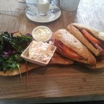 Ham Baguette with homemade coleslaw, mayonnaise & salad