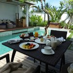 Breakfast in our pool villa