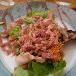 entrée: salade de jambonnades :) pas trop vinaigré, très bon !