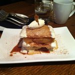 Dessert - pastry, ice cream and apples