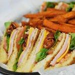 Club Sandwich with Sweet Potato Fries