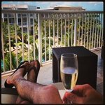 Enjoying champagne on the balcony!