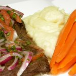 Grilled Skirt Steak in Homemade Chimichurri with Vanilla Mashed Potatoes and Steamed Carrots