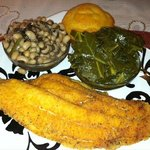 Catfish, Collards, Black-eyed Peas & Cornbread - Tasty!