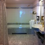 Huge bathroom with shower and bath tub