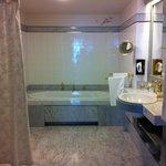 Huge bathroom with shower and bath tub