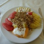 Fruit plate with yogurt, granola and honey. Simple, but better than at an all-inclusive, by far.