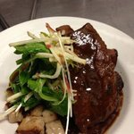 braised beef ribs, apple salad and potato gnocchi