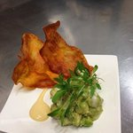 snapper ceviche with sweet potato crisps