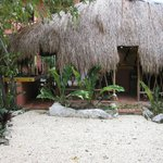 Thatched-roof kitchen/common-area.