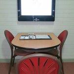 Fairly big LCD digital TV, eat at table