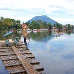 Bamboo Raft on the Temple Lake near Garut