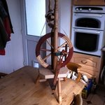 here is a pic of the spinning wheel I was inspired to build by the good folk who run the museum.