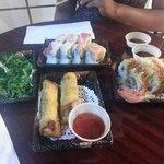 seaweed salad, rainbow, miami heat and spring rolls all under 20$