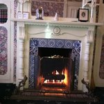 fireplace in the library